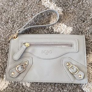 BCBG grey and gold clutch